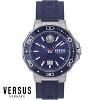Versus by Versace VSP050218 Kalk Bay silber blau Leder Armband Uhr Herren NEU