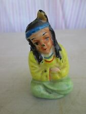 Young Brave w/ one feather Salt or Pepper Shaker Vintage Porcelain