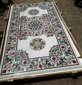 30 x 60 Inches Marble Coffee Table Top Multi Color Gemstones Inlaid Sofa Table