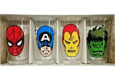 Marvel Comics Retro Heads Iron Man Spidey Hulk Captain 4 Pack Pint Glass Cup Set