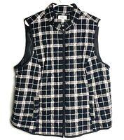 Croft&Barrow Quilted Black/White Plaid Vest lightweight polyester women's XXL