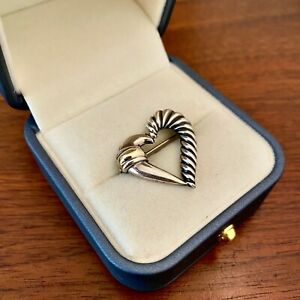 DAVID YURMAN STERLING SILVER & 14K YELLOW GOLD OPEN HEART BROOCH / PIN