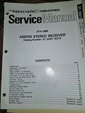 Realistic Memorex Owners Service Manual For Sta-2380 Receiver 31-3007 9072
