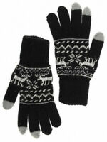 Knit Wool Blend Men's Gloves w/ Moose Pattern, Black, One Size. Touch Screen OK