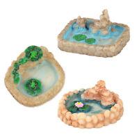 3stk Miniatur Landschaft Teich Puppenhaus Harz Handwerk Garten Pool Dekor DIY