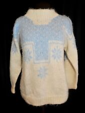 Women's Handmade Mohair Wool Sweater Size MED Snowflake Geometric Ivory BabyBlue
