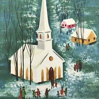 Vintage Mid Century Christmas Greeting Card Families Walking To Snowy Church