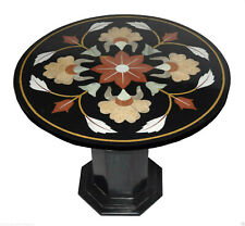 """29"""" Black Marble Top Side Table Handmade Mosaic Home Decorative With Stand"""