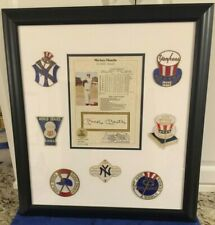 MICKEY MANTLE AUTO/SIGNED FRAMED STAT SHEET WITH 7 WORLD SERIES PATCHES