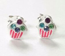 Childrens Girls 925 Sterling Silver Cupcake Crystal Stud Earrings - Pouch