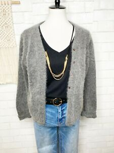 Chelsea Campbell women's wool angora sweater size Med gray cardigan soft cozy