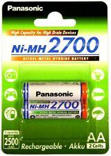4 Batterie Ricaricabili Panasonic 2700 Pile Stilo AA 2500mAh