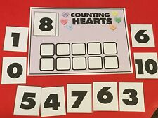 Valentine Hearts Ten Frame Mat & Number Cards - Laminated Bundle - Pre school K
