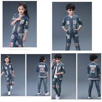 KIDS Unisex Jeans Set 2pc Jacket+Pants Sport suit Jumpsuit Size 3-16Years Deluxe