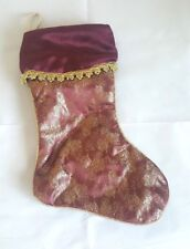 """Santa Christmas Stocking Brocade Velours Pine Cone Print 16"""" Red and Gold"""