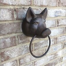 Cast Iron Pig Head Towel Ring Holder Wall Mounted Rustic Farmhouse