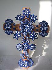 Terra-Cotta/ Pottery Artist Cross/ Cruciffix Doves/ Flowers Folk Art- Hand-made
