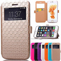 View Window Leather Flip Stand Card Slot Case Cover For Apple iPhone 6 6s plus