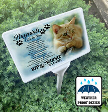 Cat feline personalised grave marker, Ground stake with memorial photo plaque.