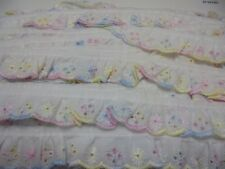 25mm Gathered Broderie Anglaise in with Multi Coloured Edge