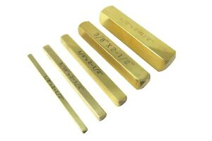 "5 Piece Set Solid Brass Set Up Bar Gauge Blocks 1/8, 3/16, 1/4, 3/8 & 1/2"" x 2.5"