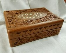 VINTAGE HANDCRAFTED CARVED INLAY LED CORAL DECORATED JEWELRY TRINKET BOX
