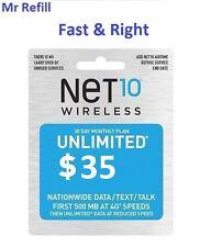 Net10 $35/Month Plan Refill: Unlimted Talk/Text/DATA, fast & right