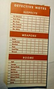 1963 Clue Board Game Replacement Parts - Detective Notes 30+ Double Sided Sheets