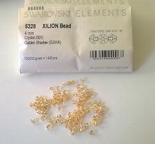 SWAROVSKI ELEMENTS BICONO GOLDEN SHADOW 4 mm