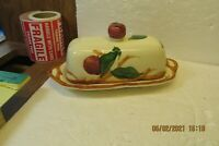 Vintage Franciscan Ware Apple Pattern 1/4lb Covered Butter Dish Finial Top  USA