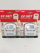 2 Pack Prime EZ-SET 15 Amp Outlet Digital Residential Plug In Timer 0869902