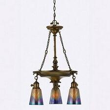 Legacy Brass And Starry Night Art Glass 3 Light Chandelier