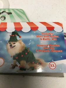 Elf Dog Holiday Costume Christmas Dress Up Pet Outfit, XL