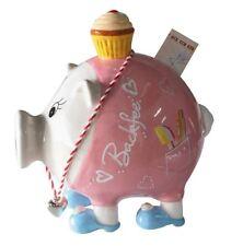 46647 Sparschwein Backfee Keramik weiß rosa blau Schwein mit Törtchen