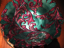 Arda Glassware 'Vanessa' Shallow Bowl, Antique Teal & Purple, Turkish Glass