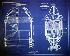"Vintage LIGHTHOUSE LENS 1st Order 1854 Blueprint Plan 19"" x 24"" (231)"