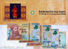 KAZAKHSTAN MARCO POLO Completed SET of 5 TEST banknotes 2010 FOLDER UNC type1