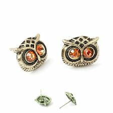 Owls Earrings Ear Stud Owl Eagle Owl Old Gold Coloured Owl Eyes Cognac Brown