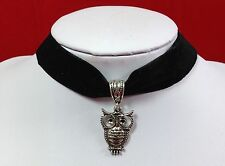 Vintage Antique Black Pendant OWL Velvet Choker Necklace 16mm