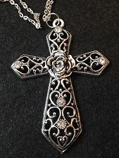"28"" Large Antique Silver Cross (4"") Pendant Necklace Rhinestones religious Jesus"