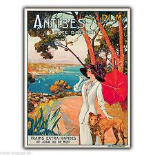ANTIBES COTE D'AZUR VINTAGE Rétro Publicité Métal Mural Signe Plaque Poster Print
