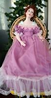 Paradise Galleries Anna Victorian Porcelain Doll w Wicker Chair by Patricia Rose
