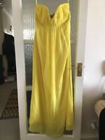 TED BAKER SILK MAXI DRESS IN YELLOW SIZE 4 UK 14