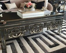 Antique gold framed coffee table with clear bevelled mirror. mirror coffee table