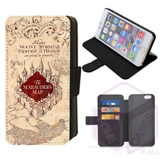 HARRY POTTER MARAUDERS MAP Flip Phone Case Wallet Cover iPhone 4 5 6 7 8 X (J)