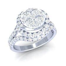 2ctw Genuine Round Diamond Women's Spiral Halo Engagement Ring 14K White Gold