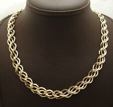 """Unique 18"""" Double Interlocked Curb Link Chain Necklace  Real 14K Yellow Gold"""