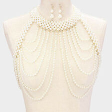 """16"""" gold cream pearl choker necklace 2"""" earrings collar body chain armor vest"""