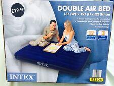 Cama de Aire Doble, superficie para dormir Flocado + Parche de reparación + Bolsa-Azul