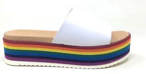 Madden Girl Womens Ashley Platform Slide Sandals White Multi Size 7.5 M US
